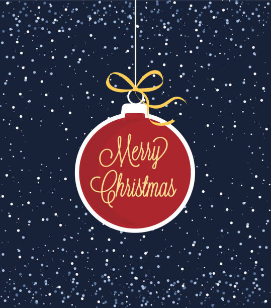 christmas ball mit schnee - weihnachtskugel stock-grafiken, -clipart, -cartoons und -symbole