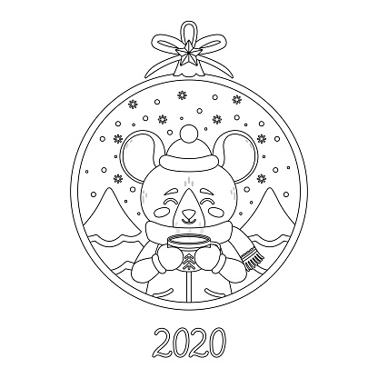 Christmas ball with the image of rat with a cup of tea. Mouse in winter wear with a cocoa standing in snow. Greeting card for the New Year and Xmas. Vector illustration. Page for coloring book.