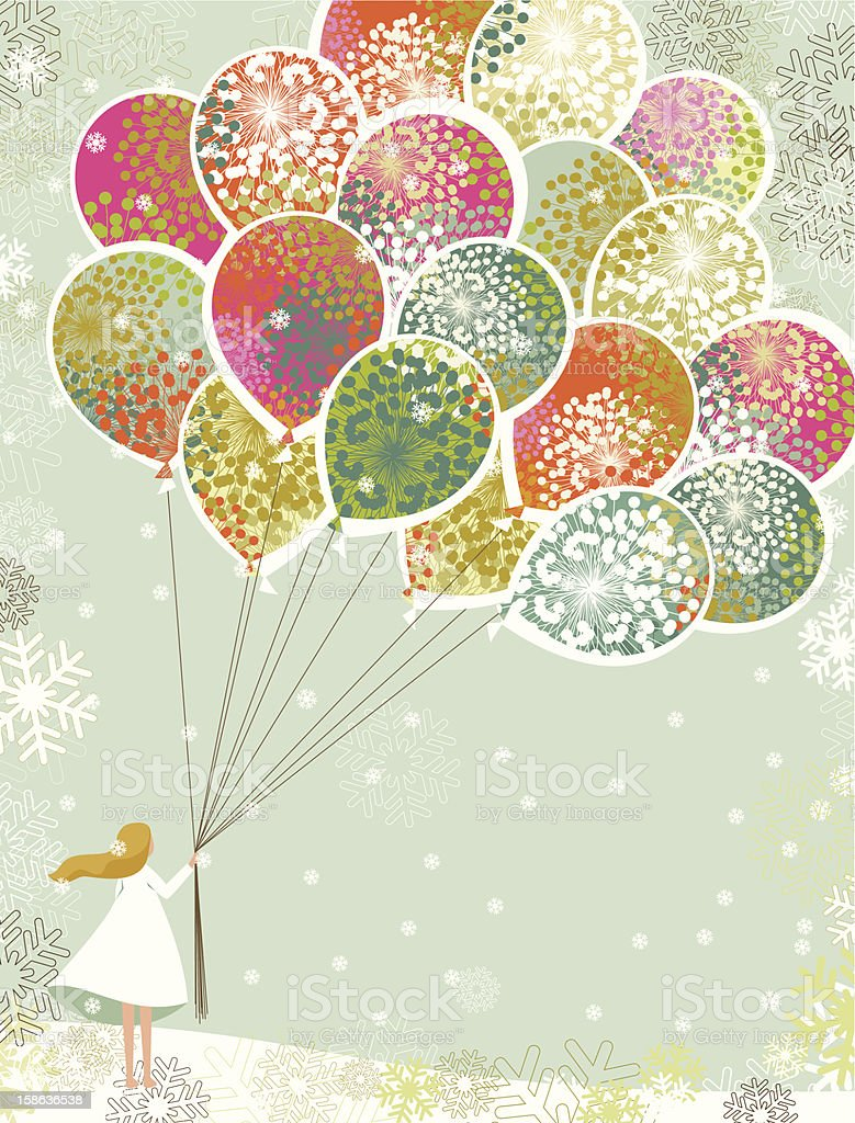 Christmas balloons vector art illustration