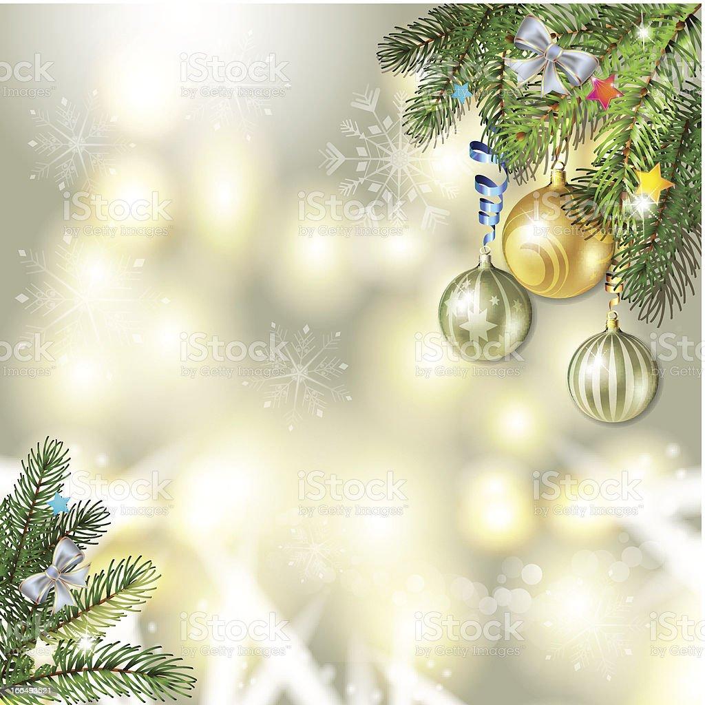 Christmas balls and pine tree royalty-free stock vector art