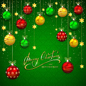 Christmas balls and stars on green backgroundGreen background with Christmas balls and golden stars. Holiday lettering Merry Christmas and Happy New Year, illustration.