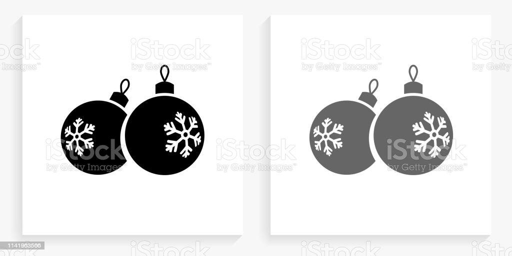 Boules De Noël Noir Et Blanc Icône Carré Vecteurs Libres De
