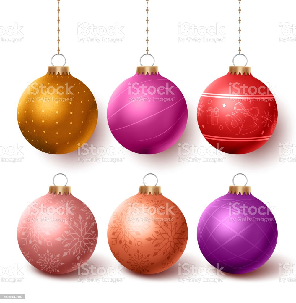 Christmas balls colorful decoration set hanging in isloated vector art illustration