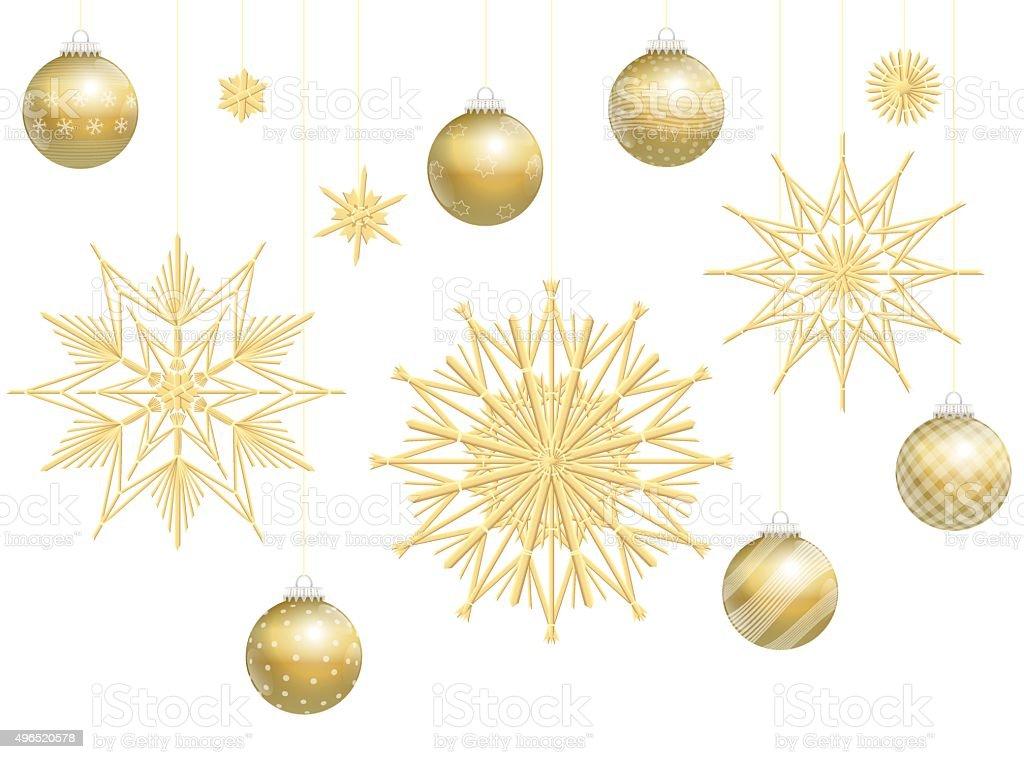 Ilustración de Bolas De Navidad Doradas Decoración De Paja Estrellas ...