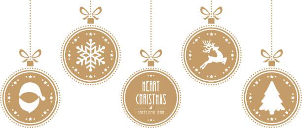 크리스마스 공 매달기 골드 격리됨에 배경기술 - 크리스마스 장식 stock illustrations