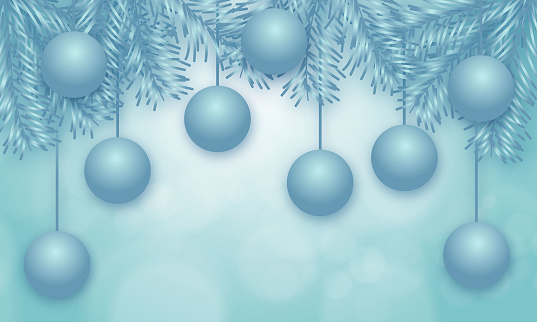 Christmas balls hanging on chains, colorful background illustration