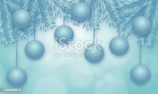 istock Christmas balls hanging on chains, colorful background illustration 1288989979