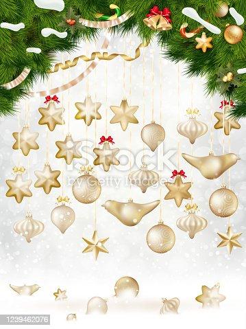 istock Christmas balls hanging on fir tree. EPS 10 1239462076