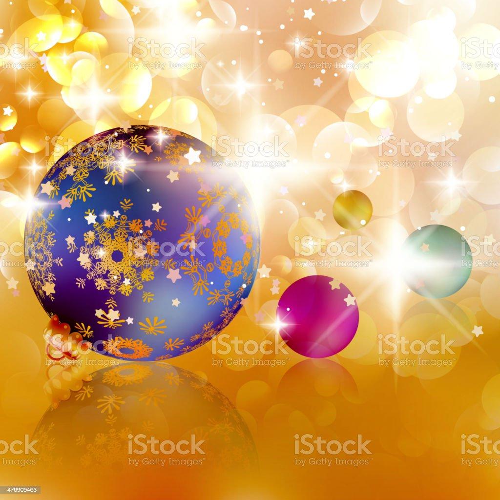 Christmas balls on abstract golden lights. royalty-free stock vector art