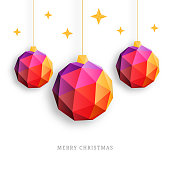 Christmas balls ornaments with stars, triangle trendy design