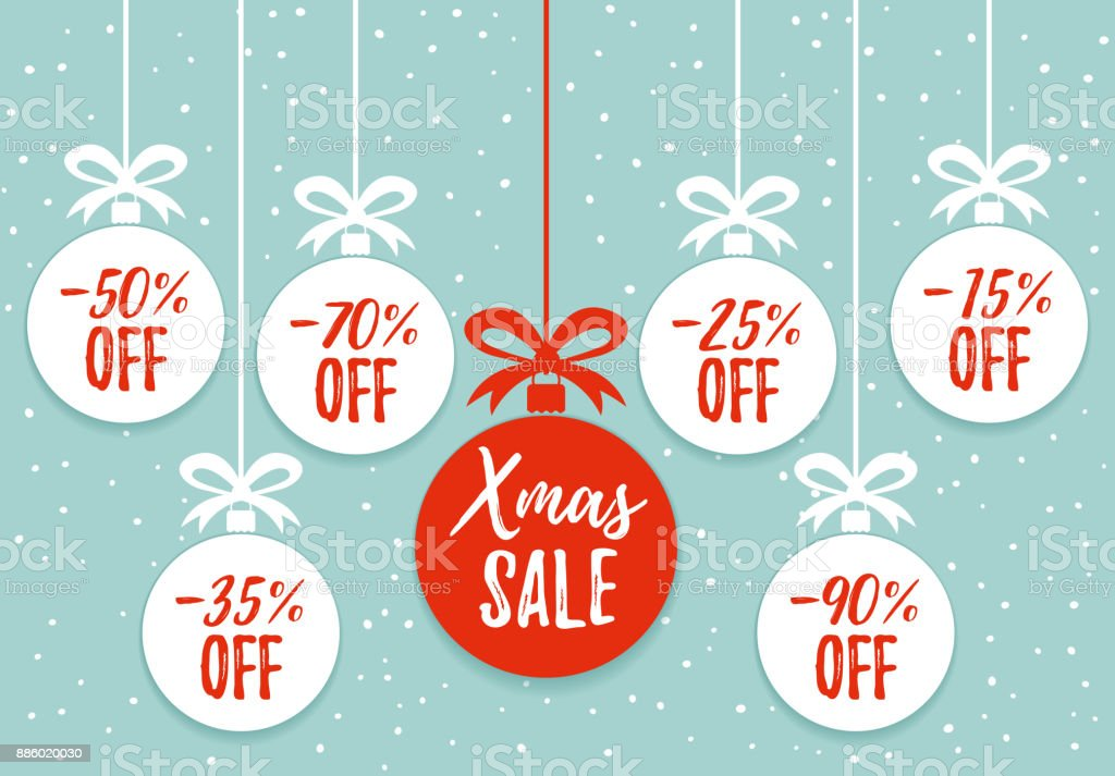 Christmas Balls Sale Xmas Sale Background Winter Holiday Discount ...