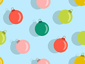 istock Christmas Balls seamless pattern. Christmas ornaments for greeting cards, wrapping paper, banners and posters. Xmas greeting card design template. Winter holiday. Vector illustration 1287600174