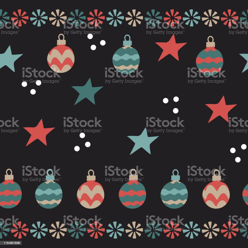 Christmas balls, snowflakes . Seamless pattern on dark background....