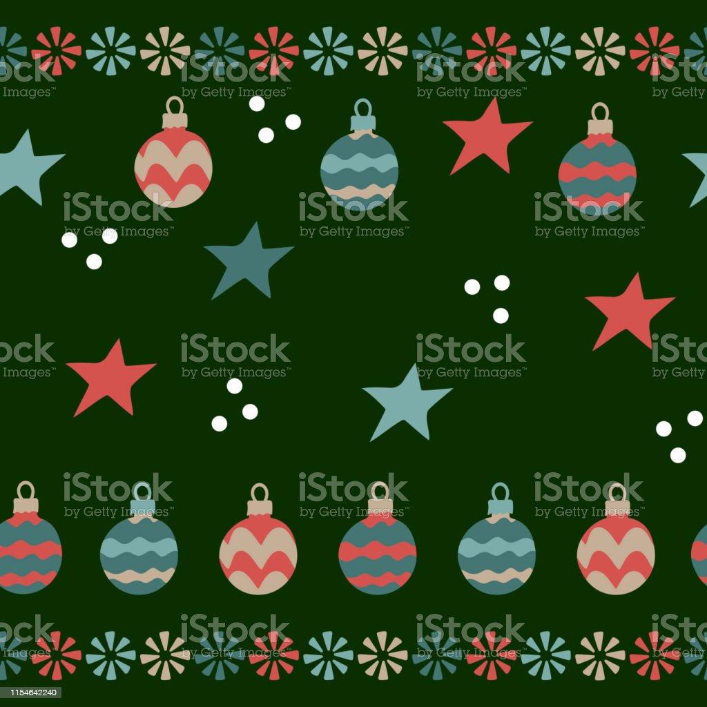 Christmas balls, stars, snowflakes . Seamless pattern on...