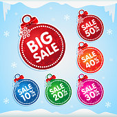 Set of isolated colorful christmas balls stickers with red bows for christmas sale with percent off
