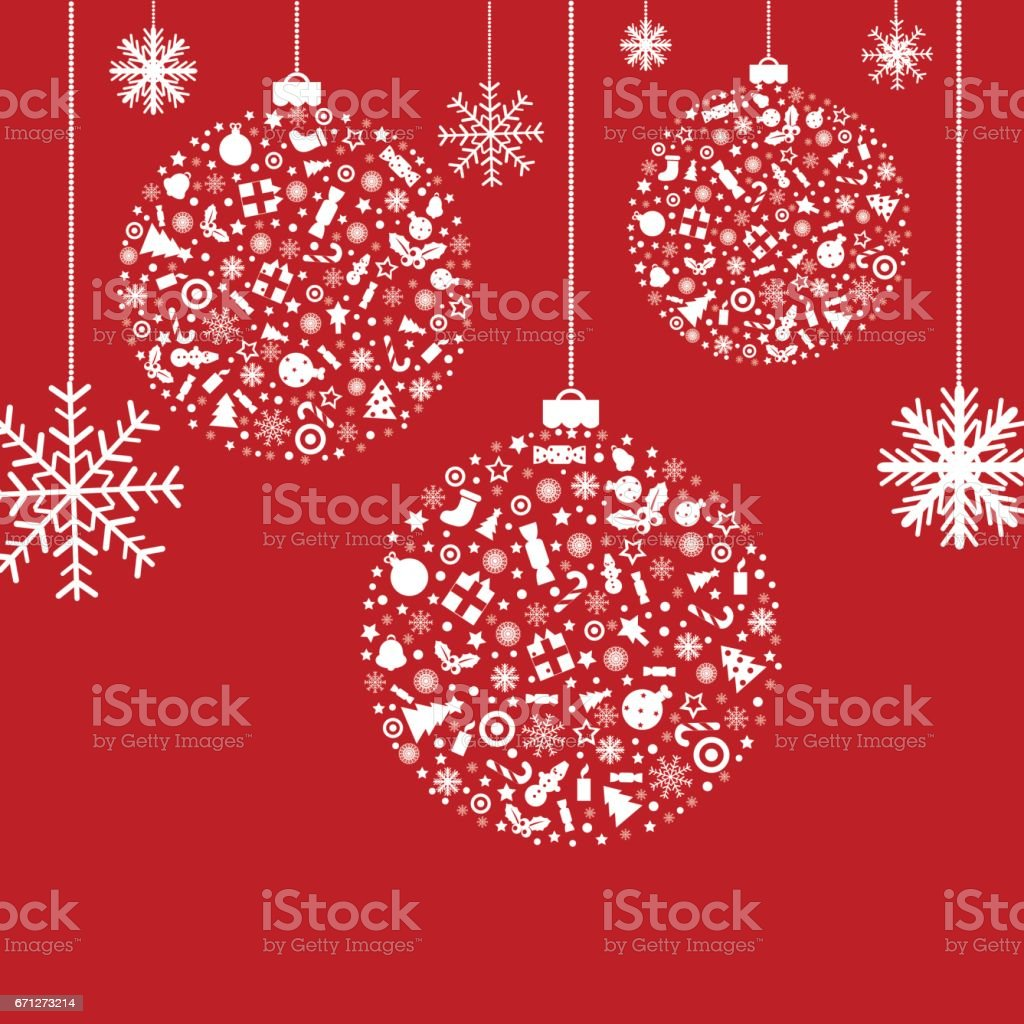 3 Stylized Balls, On Red Background, Vector Illustration