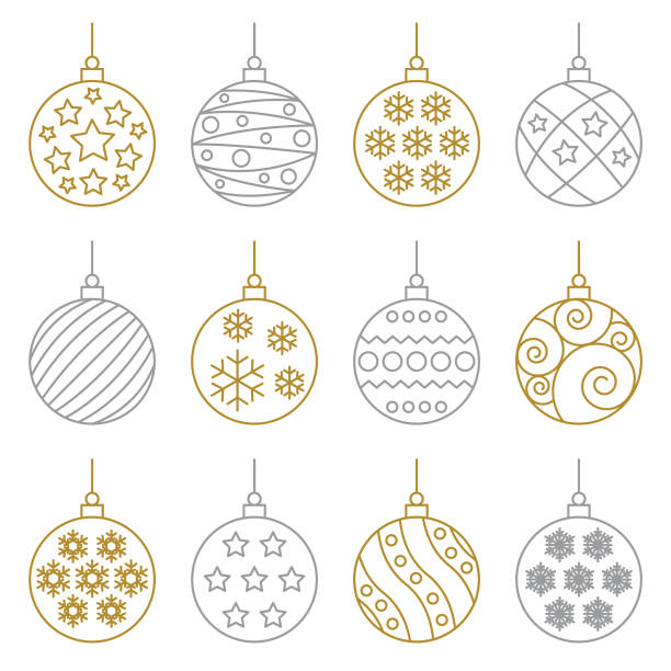 크리스마스 공 - 크리스마스 장식 stock illustrations