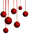 Christmas balls with ribbons on white background