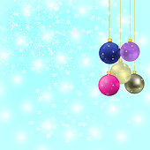 Christmas balls with snowflake background and space for your tex