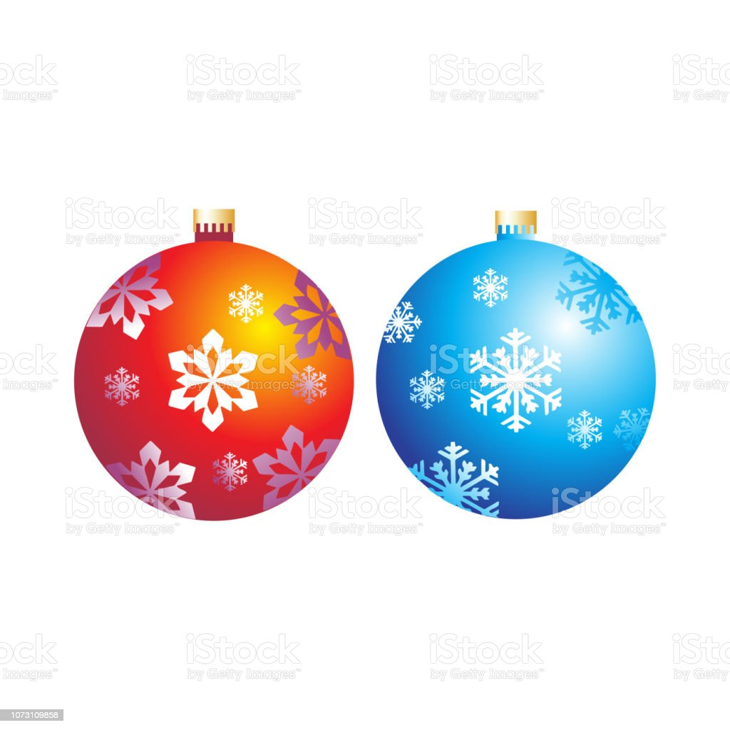 Christmas balls with snowflakes on a white background