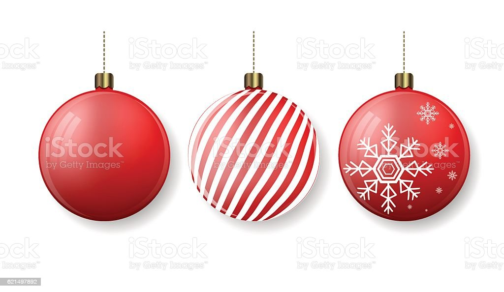 Christmas balls with stripes and snowflakes. New Year tree decoration vector art illustration