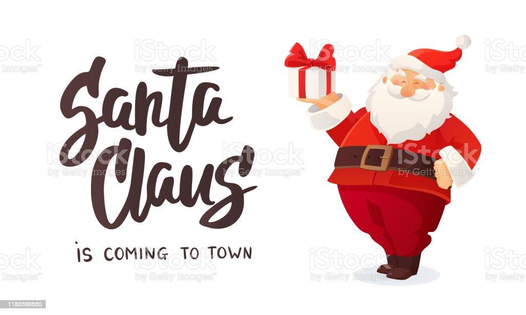 Weihnachtsbanner. Cartoon Vektor-Illustration des Weihnachtsmannes mit einem Geschenk. Geschmückter Weihnachtsbaum - Lizenzfrei Ausverkauf Vektorgrafik