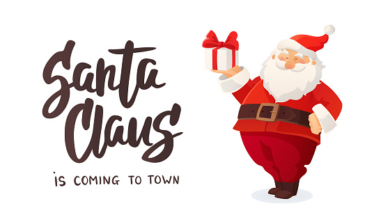Christmas banner. Cartoon vector illustration of Santa Claus with a present. Decorated Christmas tree