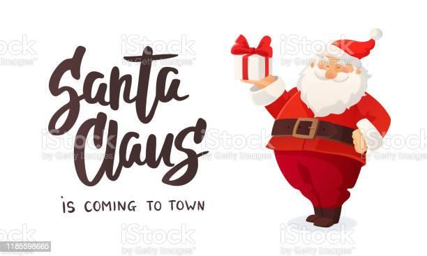 Weihnachtsbanner Cartoon Vektorillustration Des Weihnachtsmannes Mit Einem Geschenk Geschmückter Weihnachtsbaum Stock Vektor Art und mehr Bilder von Ausverkauf