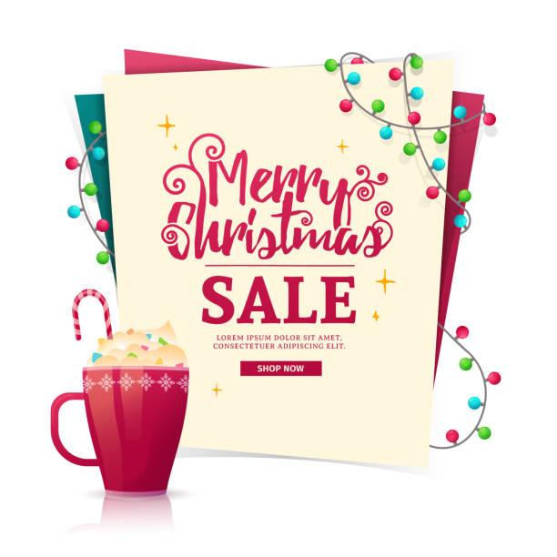 weihnachten-banner-design-vorlage zum verkauf. eine mock-up mit einem dekor von einem farbigen kranz und eine heiße süße weihnachten in einen becher zu trinken. vektor - weihnachtsschokolade stock-grafiken, -clipart, -cartoons und -symbole