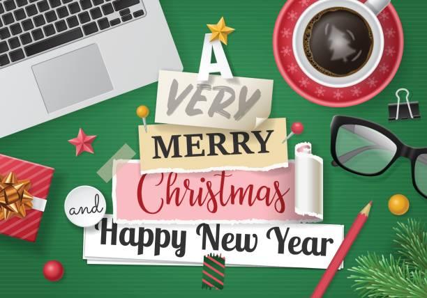 weihnachts-banner zu entwerfen, mit notizen auf papier - firmenweihnachtsfeier stock-grafiken, -clipart, -cartoons und -symbole