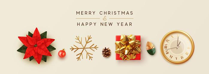 Christmas banner. Flower red Poinsettia flor de Navidad. Symbol Christmas Flower Star Euphorbia pulcherrima. gift box, gold snowflake, Xmas ball, old clock, pine cone. New Year poster, greeting card.