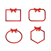 Vector Christmas Banner Frame With Bow