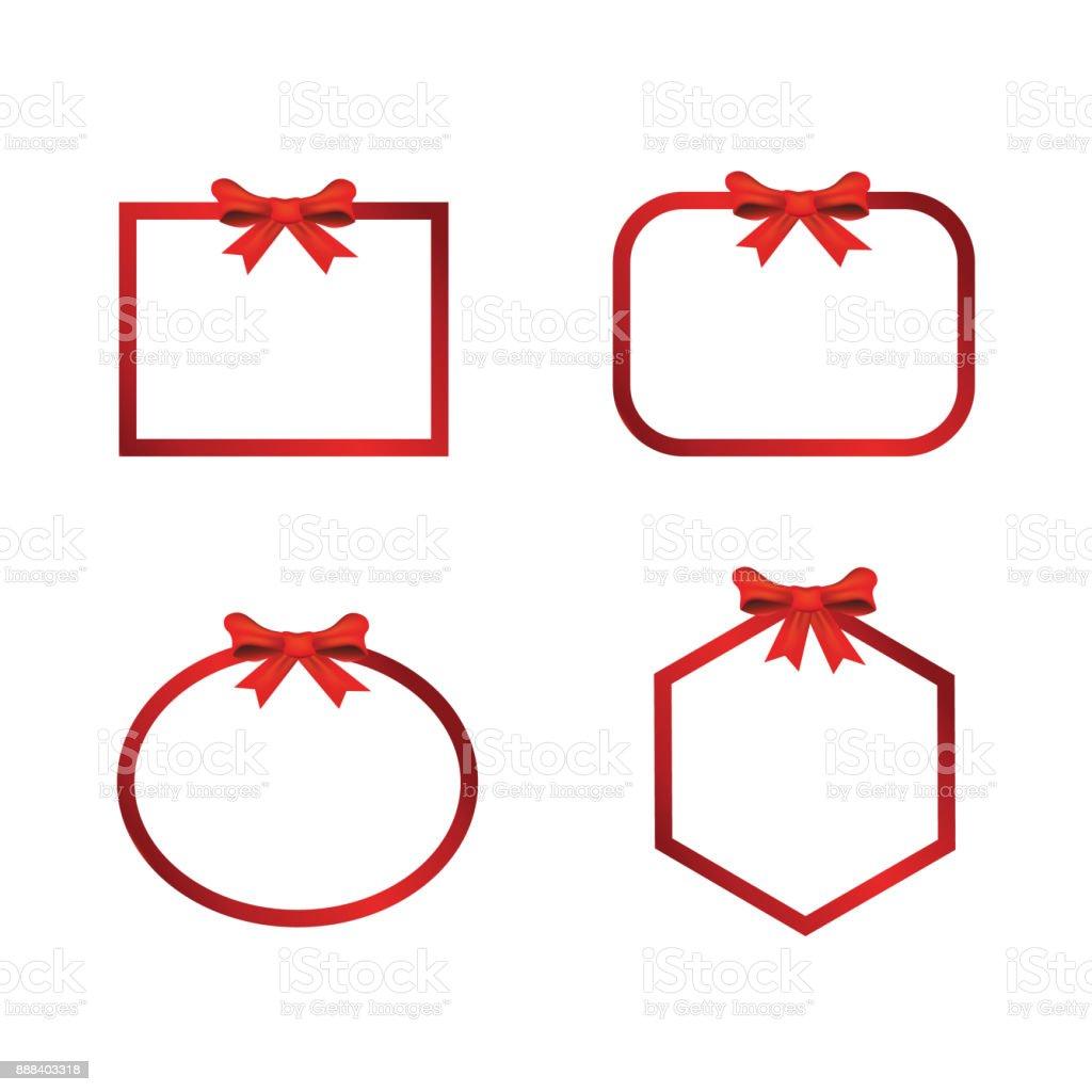 Christmas Banner Frame  Bow – artystyczna grafika wektorowa