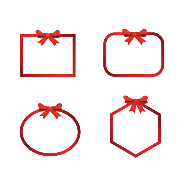 크리스마스 배너 프레임 활 - 머리 리본 stock illustrations