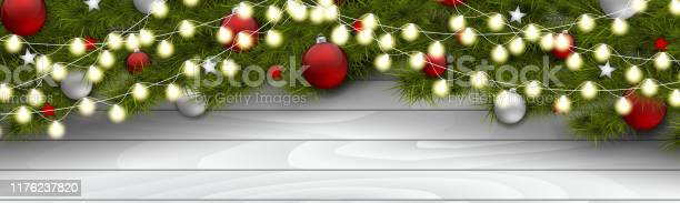 Christmas banner green fir tree branches with decoration glass balls vector id1176237820?b=1&k=6&m=1176237820&s=612x612&h=r douqmk3usvmyovaefs9ycty8mbfue m3jx39o ri8=