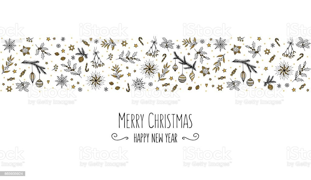 Christmas Banner Of Floral Elements In Black White Gold Stock Vector