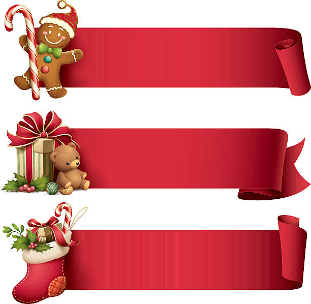 Christmas banner set illustration of gingerbread man, christmas stocking and gift with teddy bear with ribbon banner christmas stocking stock illustrations