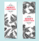 Christmas banner. Vector hand drawn illustration with pine cone, evergreen, fir tree. Engraved traditional xmas decoration botanical element. Greeting card, holiday label
