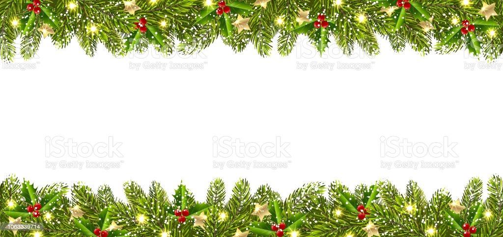 Weihnachtsbaum Girlande.Weihnachtsbanner Mit Weihnachtsbaum Girlande Stock Vektor Art Und