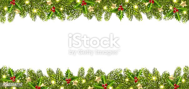 Christmas banner with garland of Christmas trees on a white background