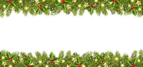 Christmas Banner with Christmas Tree Garland Christmas banner with garland of Christmas trees on a white background christmas borders stock illustrations