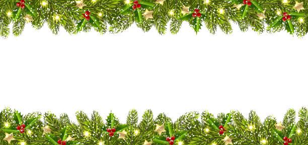 bildbanksillustrationer, clip art samt tecknat material och ikoner med jul banner med julgran garland - christmas frame
