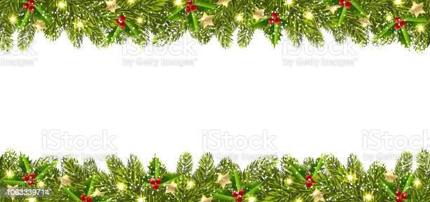 Jul Banner Med Julgran Garland-vektorgrafik och fler bilder på Abstrakt