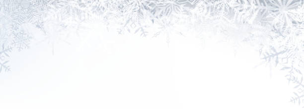 Christmas banner with crystallic snowflakes Winter banner pattern with crystallic transparent snowflakes and place for text. Christmas background. Vector. ice crystal stock illustrations
