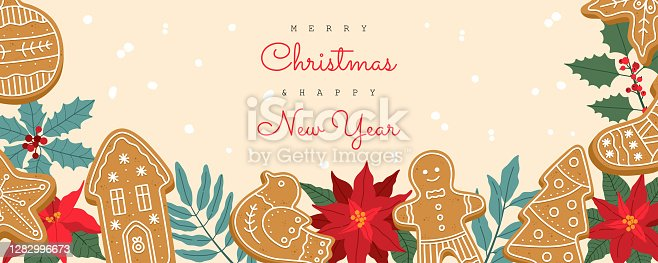 Christmas banner with festive plants and gingerbread cookies, greeting cards. Invite to Xmas holiday party. Hand drawn vector illustration in trendy flat cartoon style, isolated on yellow background.