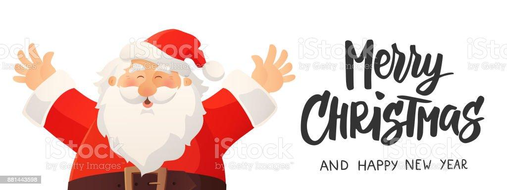 Vetores De Banner De Natal Com Desenho Animado Papai Noel Feliz