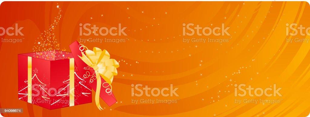 Christmas banner with magic box royalty-free stock vector art