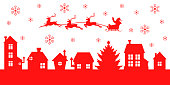 istock Christmas banner with Santa Claus flying over the night village 1192741775