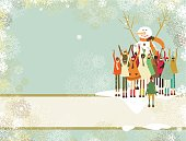 Banner with snowman and children enjoying christmas together.