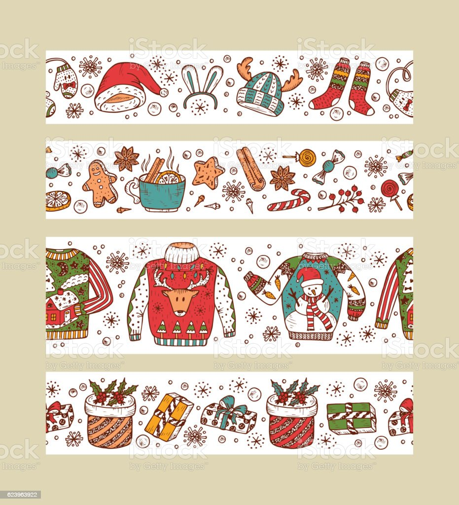 Christmas banners. Horizontal Holiday seamless borders. Christmas paper strips. Xmas vector art illustration